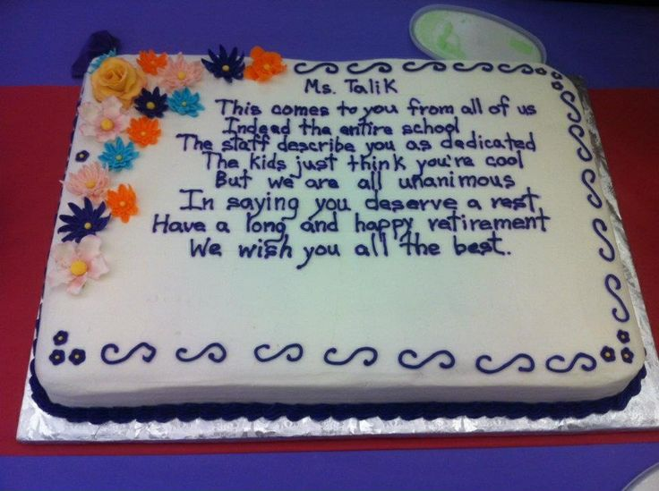 Teacher Retirement cake My cakes Pinterest Cakes ...