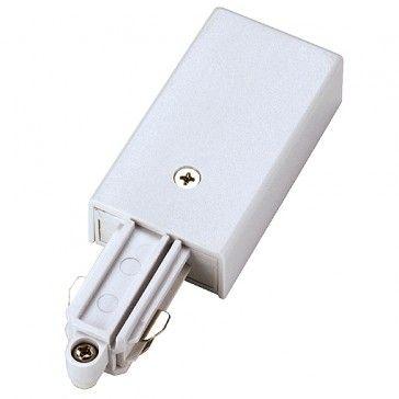 Einspeiser für 1-Phasen HV-Stromschiene, Aufbauversion, Schutzleiter links, weiss / LED24-LED Shop