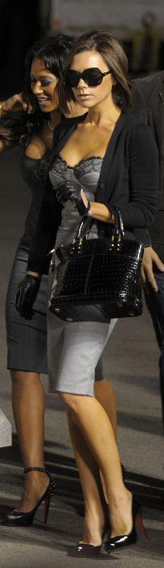 Dress,  Black Sweater , Black Heels & Bag.