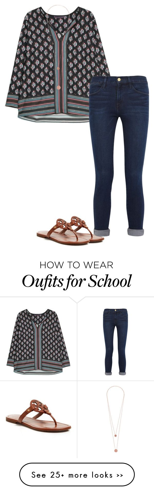 """outfit for school maybe"" by sassy-and-southern on Polyvore featuring Tory Burch, Violeta by Mango, Pieces and Frame Denim"
