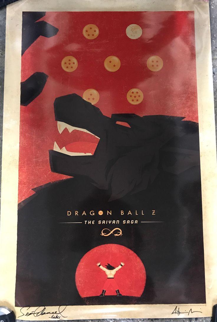 "Dragon Ball Z: The Sayan Saga w/ Goku/oozuru. Signed by artist via mail. 27"" x 40"". Signed by Sean Schemmel (voice actor for Goku) June 4, 2017 at Wizard World Con."