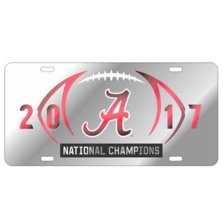2017 National Champions Mirror Car Tag - Silver