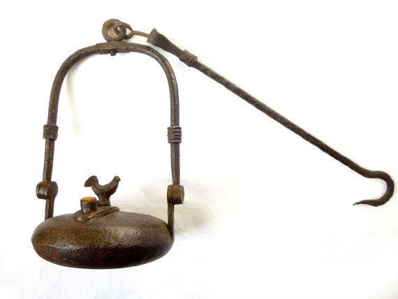 Antique lampe à huile de mineur français par LeGrenierDeFrancine