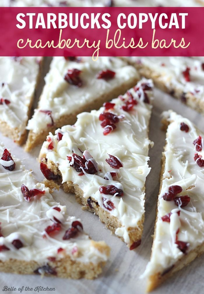 Homemade Cranberry Bliss Bars  // Barritas de arándanos hechas en casa