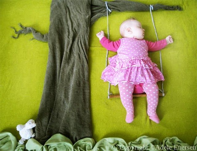 Wonderful, whimsical photos of a sweet baby girl. I love how real the set of the photos look and the fact that she is asleep in every picture!