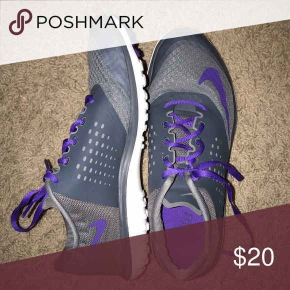 Grey and Purple Nike Tennis Shoes great for running and exercise or just  lounging around!