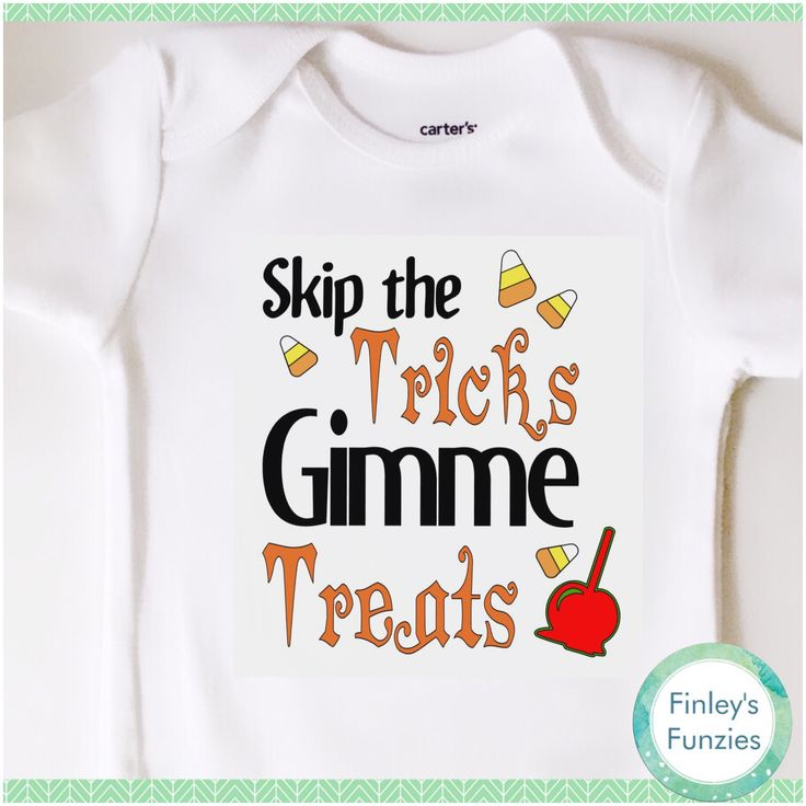 Skip the tricks gimme treats Baby Onesie Halloween toddler shirt by FinleysFunzies on Etsy