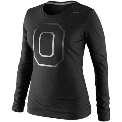 Nike Ohio State Buckeyes Ladies Seasonal Tri-Blend Logo Long Sleeve T-Shirt - Black