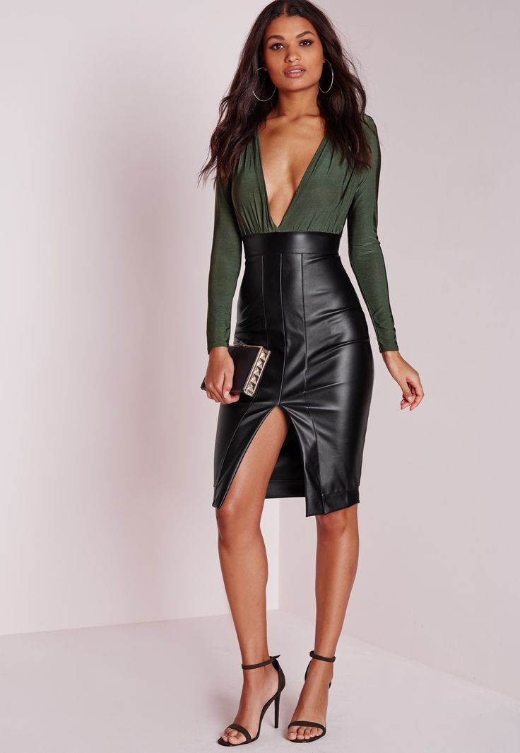 Missguided - Faux Leather Slinky Midi Dress Khaki