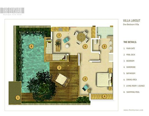 one bedroom villa Seminyak layout detail