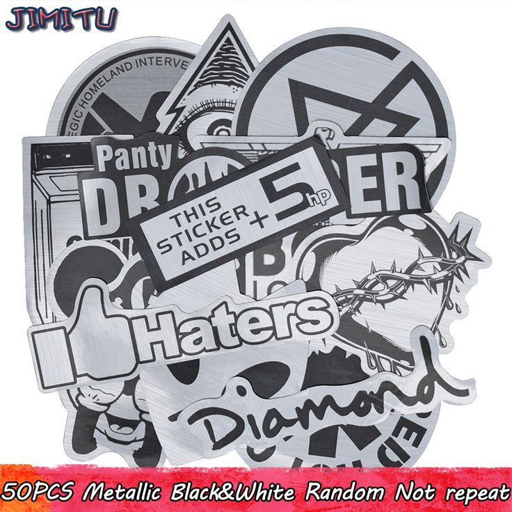 [ 30% Off ] 50pcs Metallic Color Black and White Stickers Random Graffiti Sticker for Motorcycle Stickers Kids DIY Laptop Luggage Skateboard