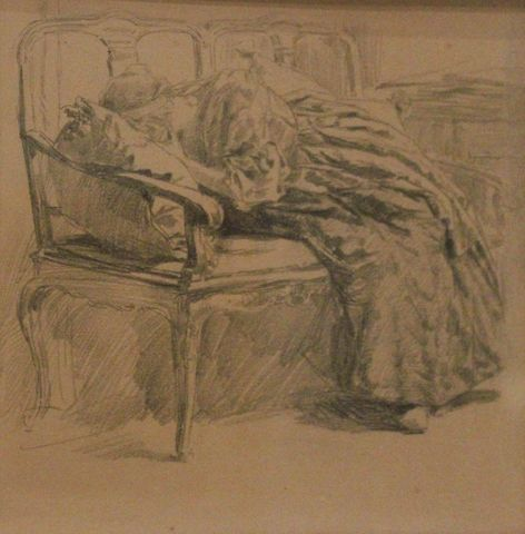 Untitled (Sorrowful Reclining Woman), n.d., Carl von Marr, Museum of Wisconsin Art, 0145.
