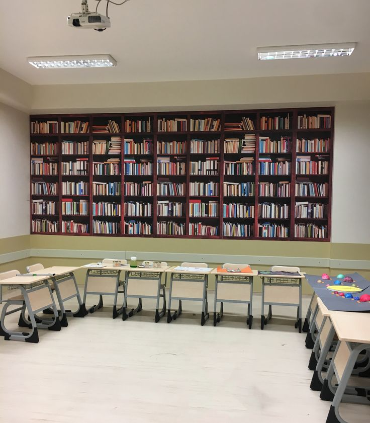 Okul ve sınıf için 3D duvar kağıdı modelleri - kitaplık - kitap dekoru - kitaplık duvar kağıdı - okul dekoru - duvargiydir.com