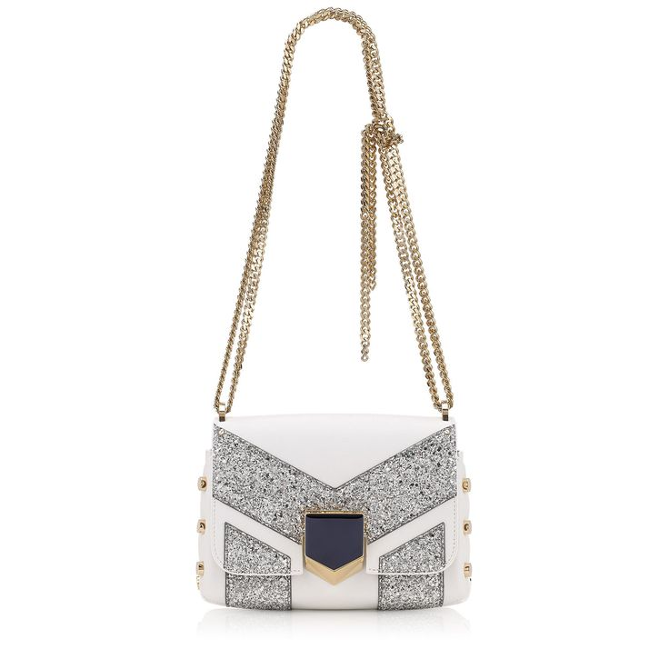 Jimmy Choo Lockett Petite Shoulder Bag in Optic White Nappa Leather with Silver Glitter Stripe Motif.