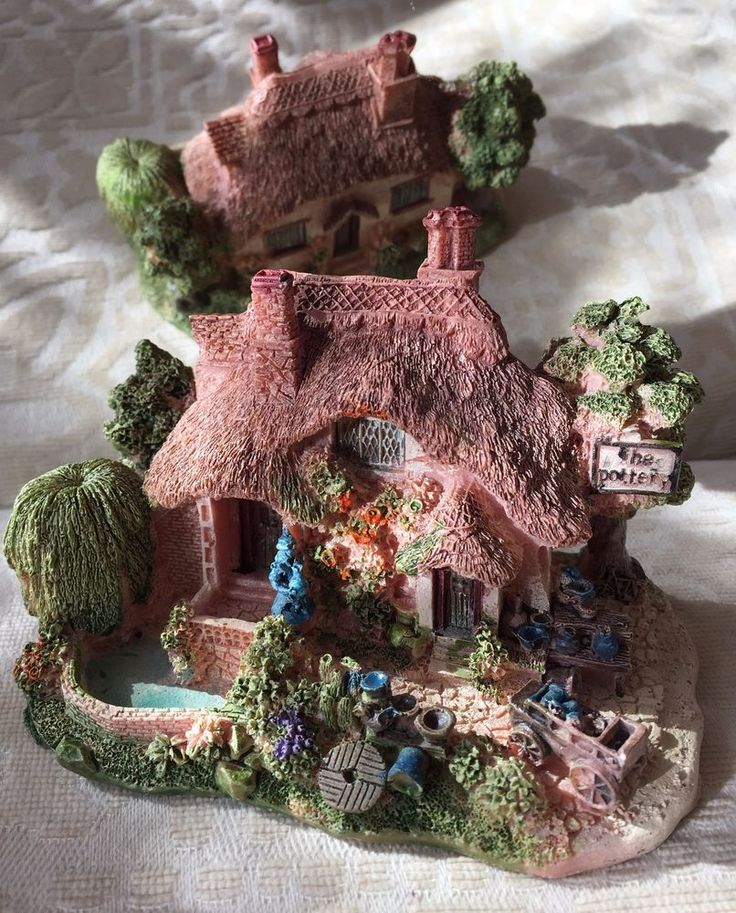 Hand-painted Resin Miniature cottage House Ornaments (Large) | eBay