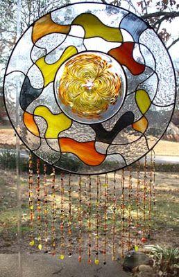 Arte em Vidro: Arte em Vidro: Espanta Espíritos com Mandala