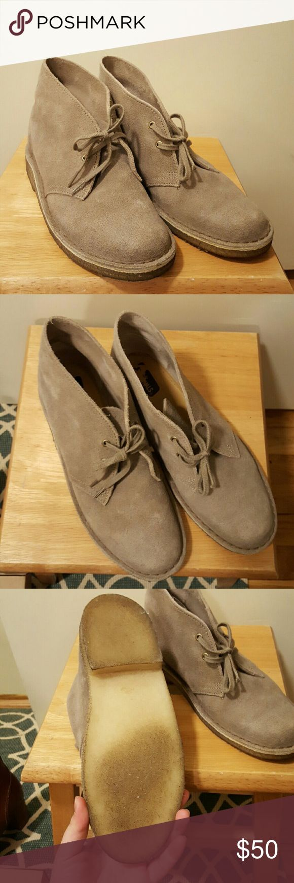 Clarks Desert boots size 8 Taupe suede desert boots from Clarks in size 8 (womens). I've only worn these a few times. Can't figure out how to style them so I'm letting them go to a  better home. They are very comfortable. Clarks Shoes Ankle Boots & Booties