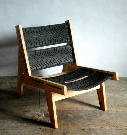 Good idea for outside benches: Tire Chair
