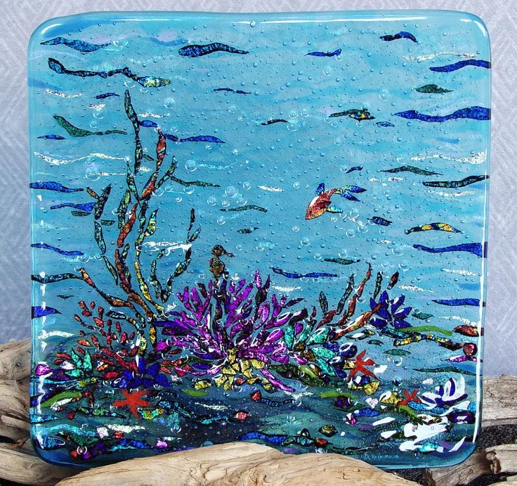 """Gorgeous colors and use of dichroic glass sculpted fused dichroic glass 8"""" ocean plate"""