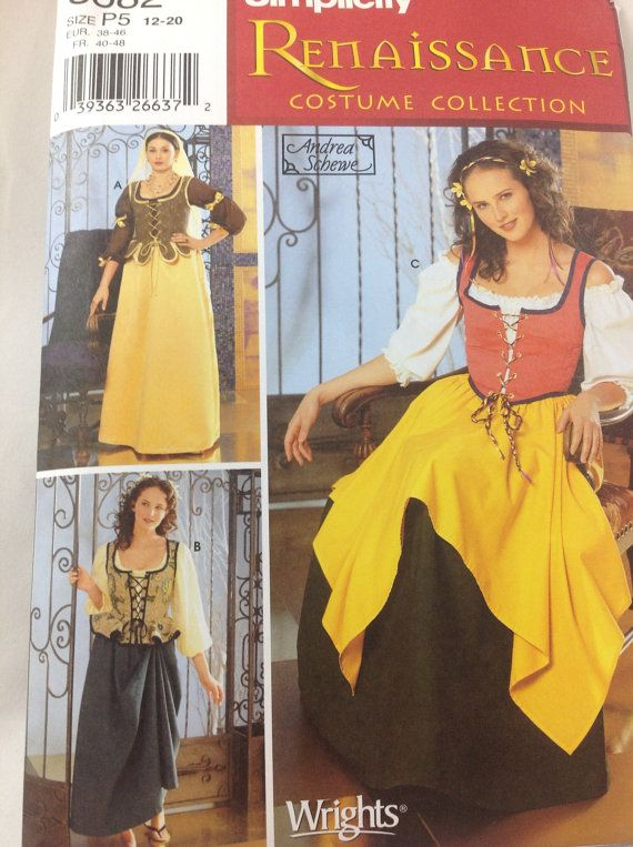 Simplicity 5582 Costume Sewing Pattern Renaissance Medieval Peasant Woman size  sz 6-10 OR sz 12-20