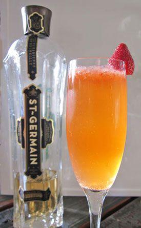 Lady Germain - lemon juice, strawberry, St. Germain elderflower liqueur, champagne, gin.