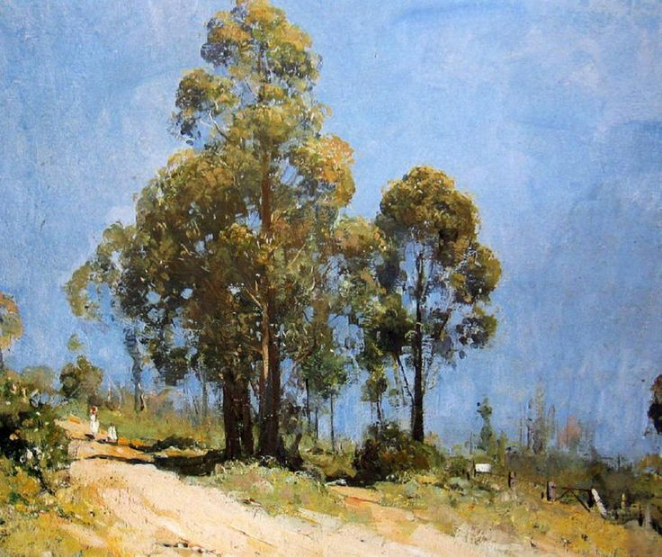 Arthur Streeton - Australian (1867 - 1943) A Hot Road, Olinda, Oil on canvas, 48.5 x 59 cm, landscape painter and leading member of the Heidelberg School, also known as Australian Impressionism