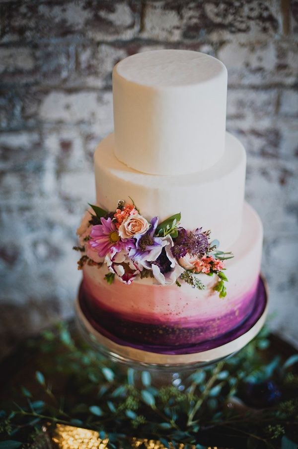 purple painted wedding cake - photo by Khaki Bedford Photography http://ruffledblog.com/brooklyn-meets-nashville-wedding-inspiration #weddingcake #cakes