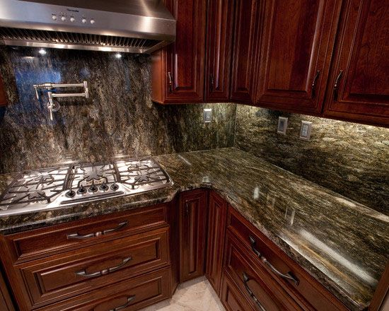 Perfect Kitchens With Saturnia Granite Countertops Saturnia Granite  Installed Design Photos And Reviews Granix Inc Kitchens With Cosmos Granite  Pinterest ...