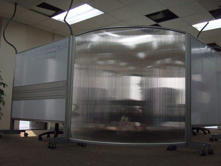 Standard Bank 50mm solid movable walling system: whiteboard with ducting and floor based screens. Both are mobile.