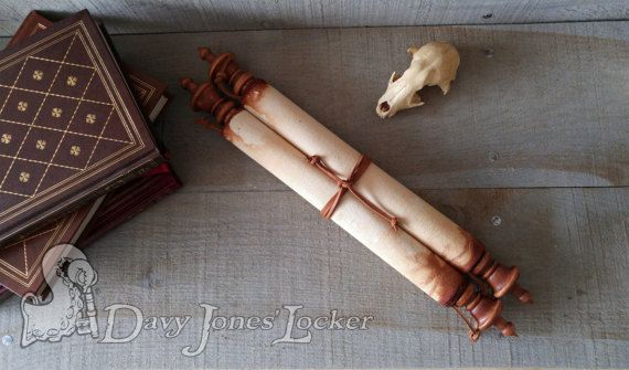 FREE SHIPPING - Scroll -  Deluxe Parchment paper - Scribe - Double hardwood rod -  Medieval