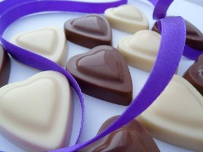 Solid Chocolate Hearts Chocolate Trio from Caithness Chocolate.