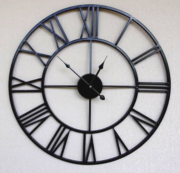 Black Metal Retro Chic Large Wall Clock With Roman Numerals