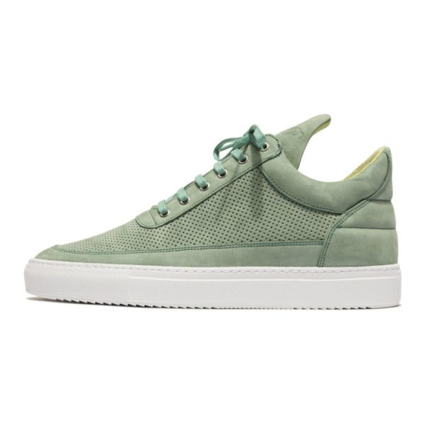 Filling Pieces Mint Low Top Trainers ($54) ❤ liked on Polyvore featuring shoes, sneakers, nubuck leather shoes, filling pieces, mint sneakers, perforated shoes and mint green sneakers