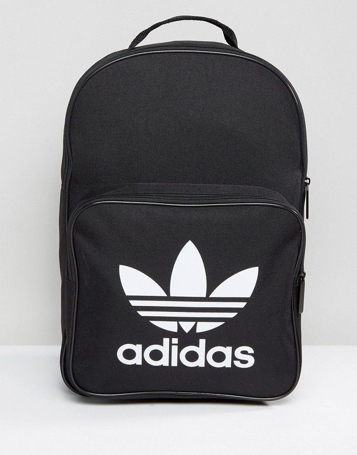 adidas Trefoil Backpack In Black With Front Pocket BK6723