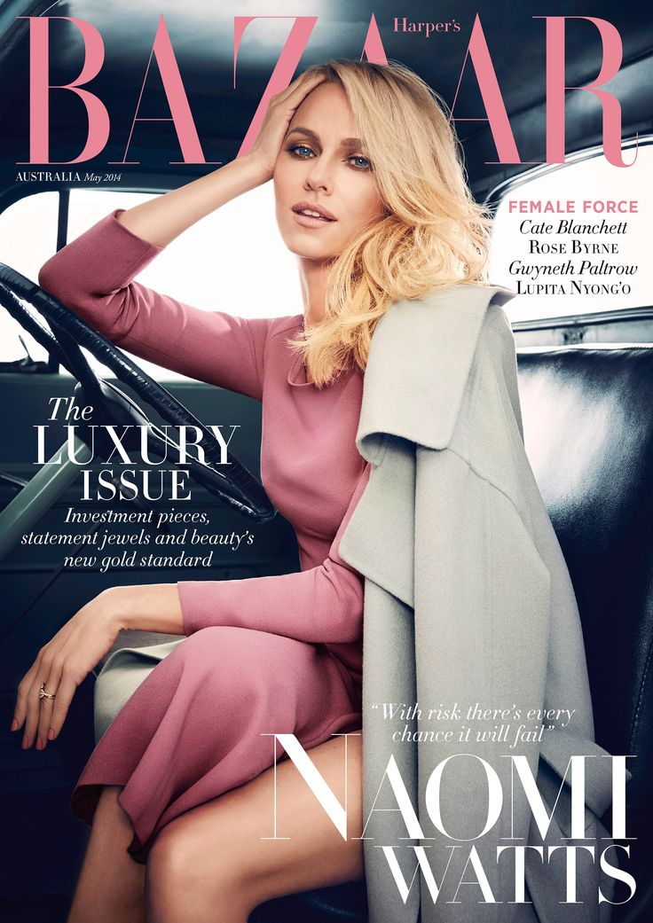 Australian actress Naomi Watts wearing Burberry Prorsum on the cover of the May issue of Harper's Bazaar Australia