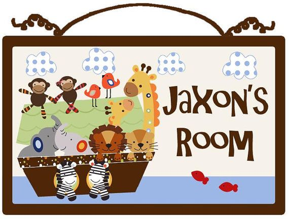 """Personalized """"Noah's Ark/SS Animal Pairs"""" Wood Sign/Plaque Nursery Decor on Etsy, $19.99"""