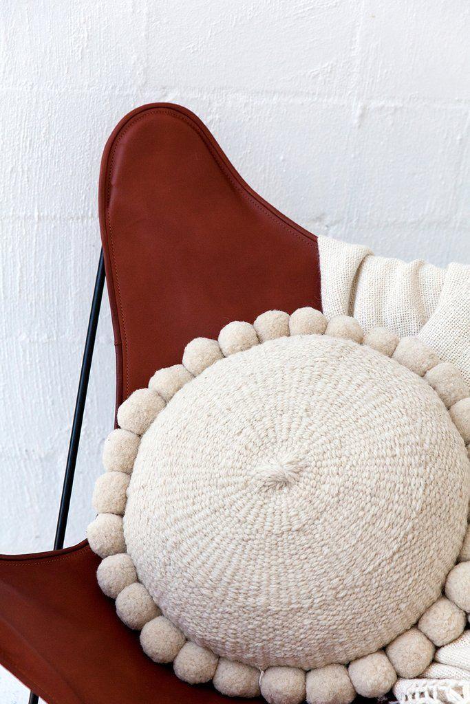 Porteno Chair Malbec Adult Bean Bag Chair Pompom Cushion Cushions