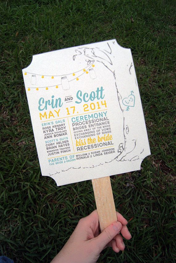 Custom Southern Inspired Teal and Yellow Wedding Program Fan