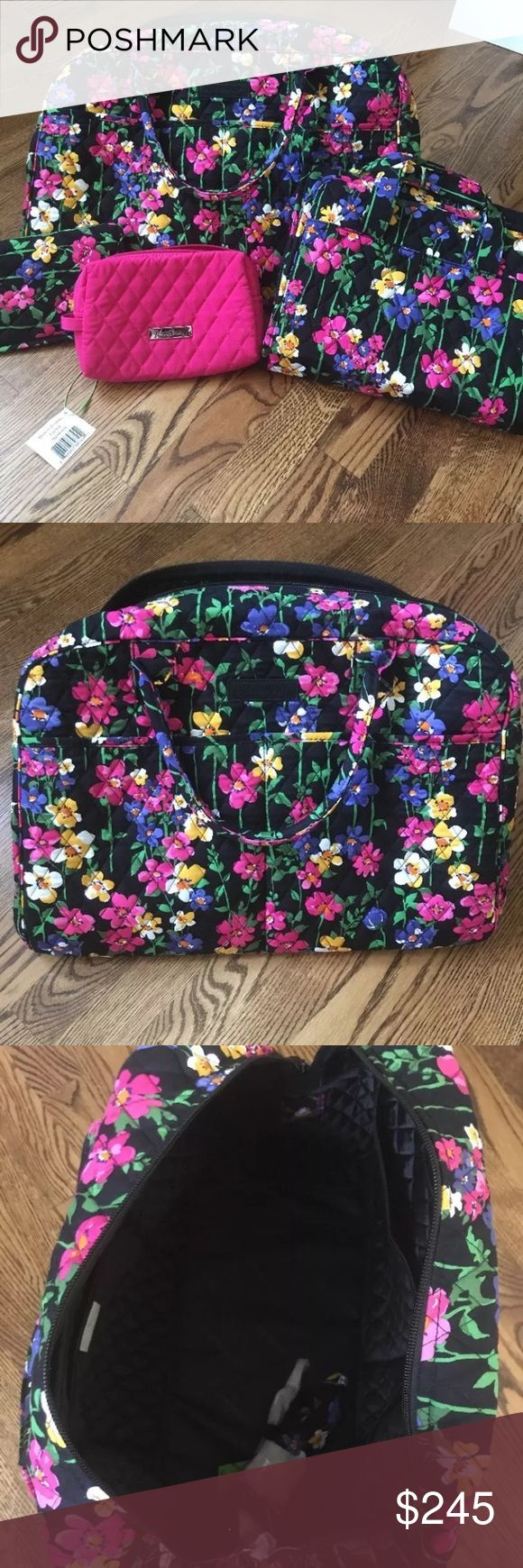 Vera Bradley Brand New Travel Bag Collection Collection of Vera Bradley travel bags in Wildflower Garden pattern. Includes Weekender travel bag, Hanging Organizer for cosmetics/toiletries, Curling & Flat Iron Cover, and Medium Cosmetic bag in Fuchsia. Never been used Vera Bradley Bags Cosmetic Bags & Cases