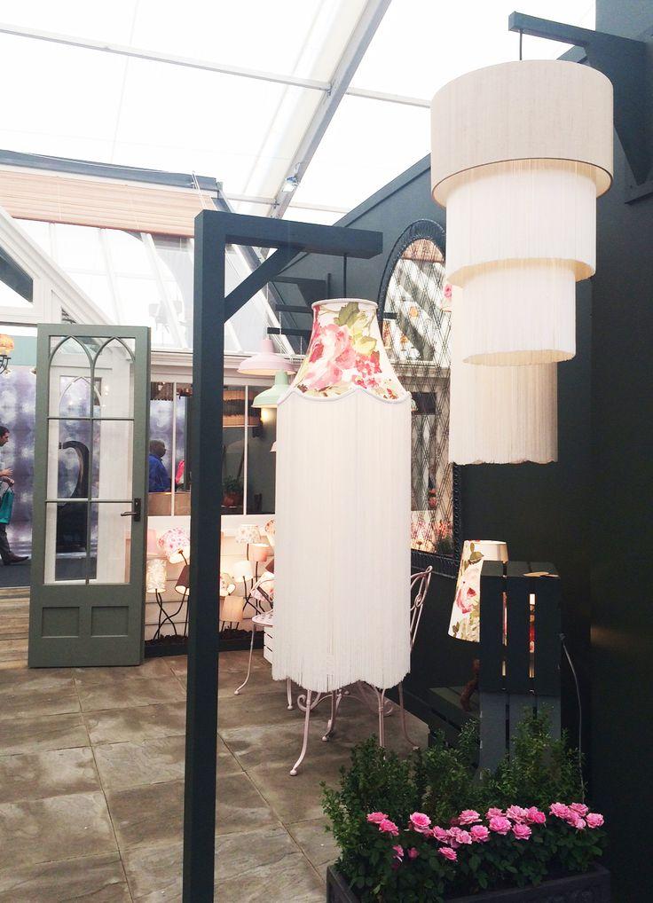 Clarke & Clarke fabric lampshades at Decorex International