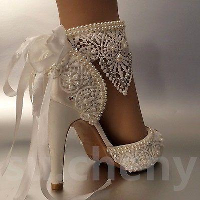 """Detalhes sobre su.cheny 3 """"4"""" salto cetim tornozeleira de renda marfim dedo do pé aberto sapatos de casamento nupcial   – wedding dresses"""