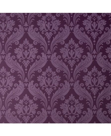 30-382 Kelly Hoppen Vintage Flock Purple Damask Wallpaper | Graham & Brown