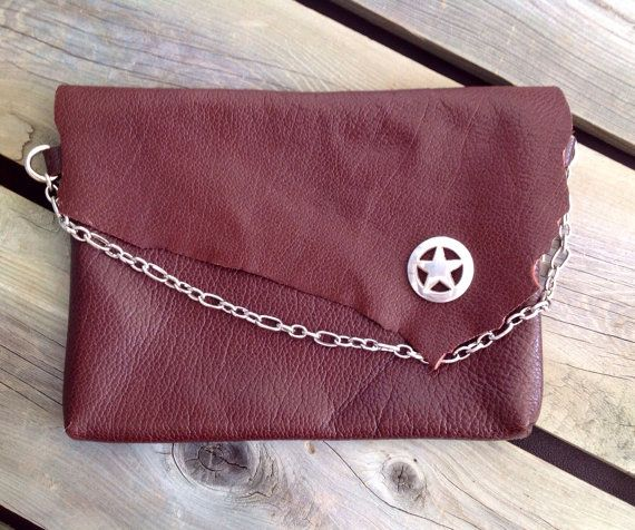 Grapeseed Leather Clutch with Raw Edge Flap, Silver Sheriff's Badge Concho & Chain Strap on Etsy, $120.00 CAD