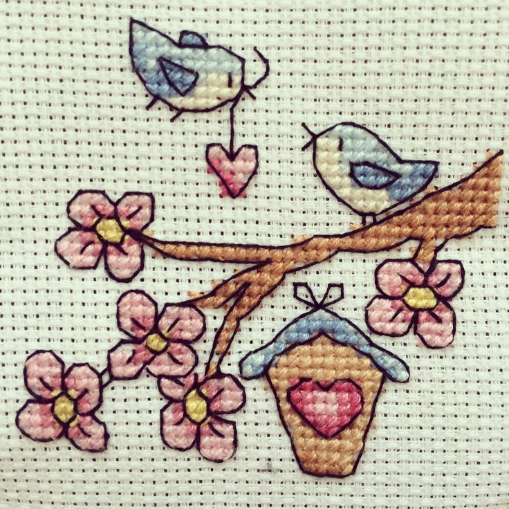 Birds cross stitch / etamin kanaviçe kuş evi