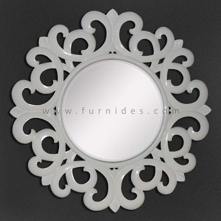 Bingkai Ukiran Cermin Hias Bulat Putih | FurniDes.Com