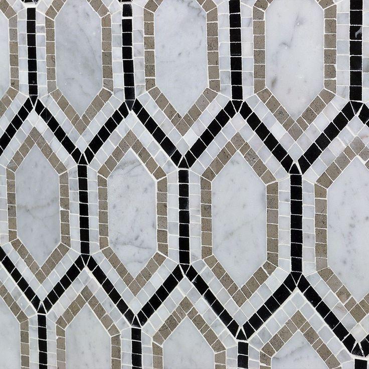 Shop For Infinity Carrara Hexagon With Lagos, White Carrara and Black Marble Tile at TileBar.com