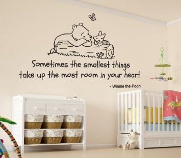 Winnie the Pooh Sometimes the Smallest Things Quote Children's Bedroom Kids Room Playroom Nursery Wall Sticker Wall Art Vinyl Wall Decal Wal...