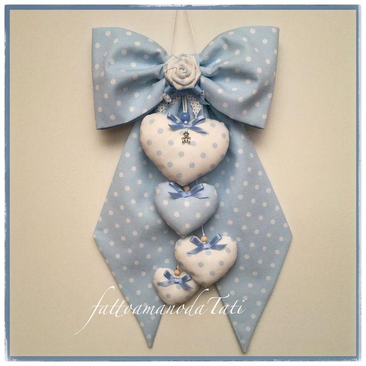 Fiocco nascita in cotone azzurro a pois con rosa e 4 cuori , by fattoamanodaTati