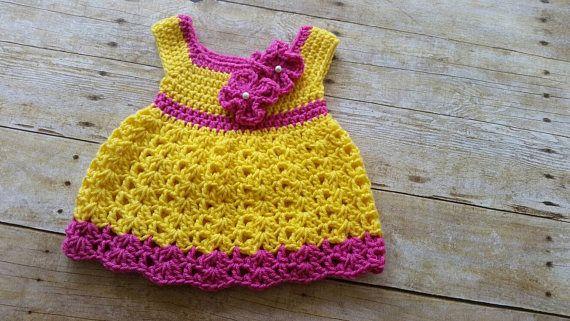 Yellow Crochet Baby Dress, Infant Baby Dress, Handmade Baby Girl Gift, Newborn Baby Dress, Baby Shower Gift, Infant Girl Dress, Coming Home