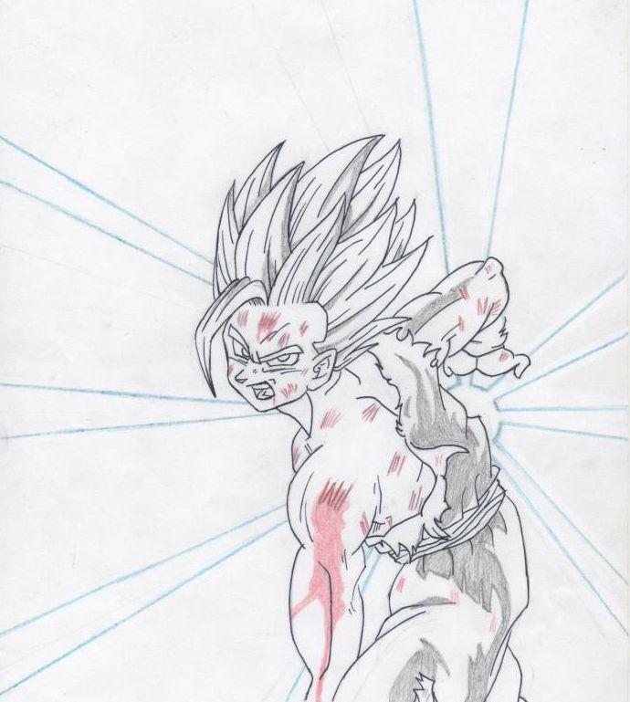Dibujo de Gohan, Saga de Cell.  Dragon Ball Z